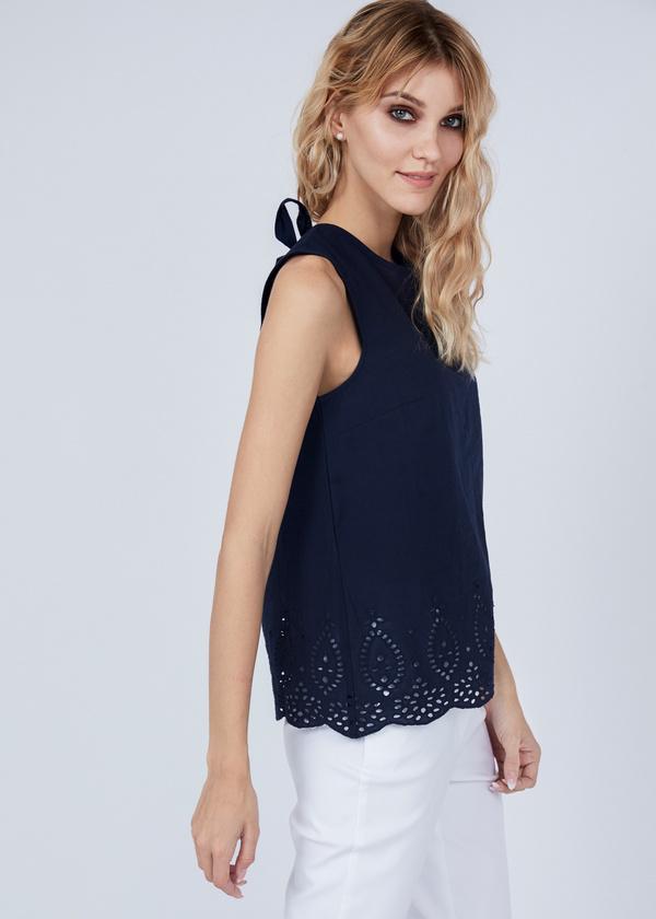Хлопковая блуза с кружевом - фото 2