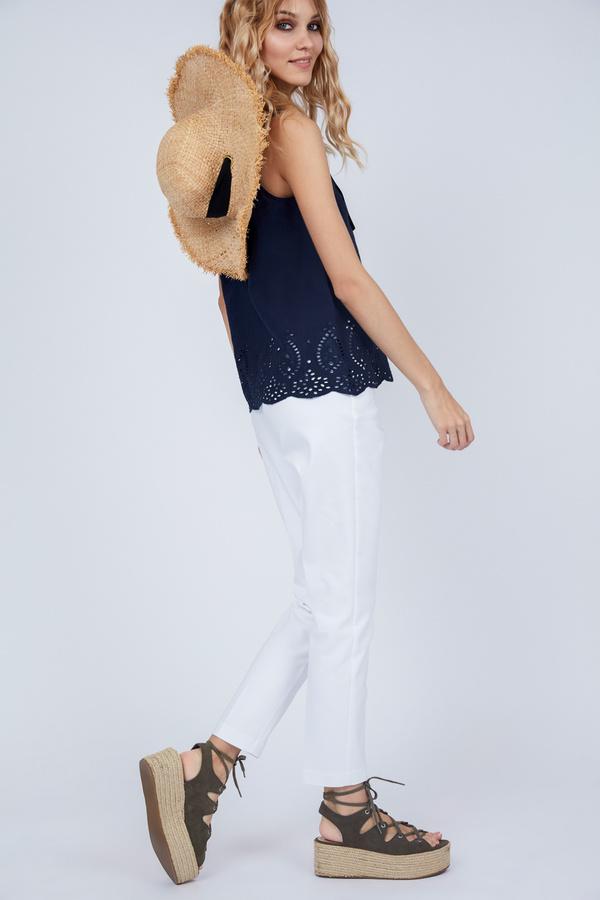 Хлопковая блуза с кружевом - фото 3