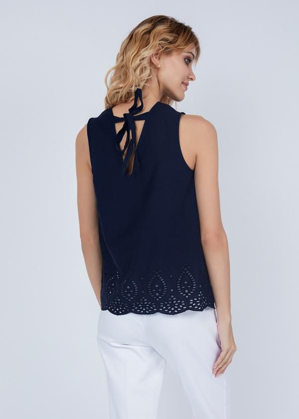 Хлопковая блуза с кружевом - фото 4