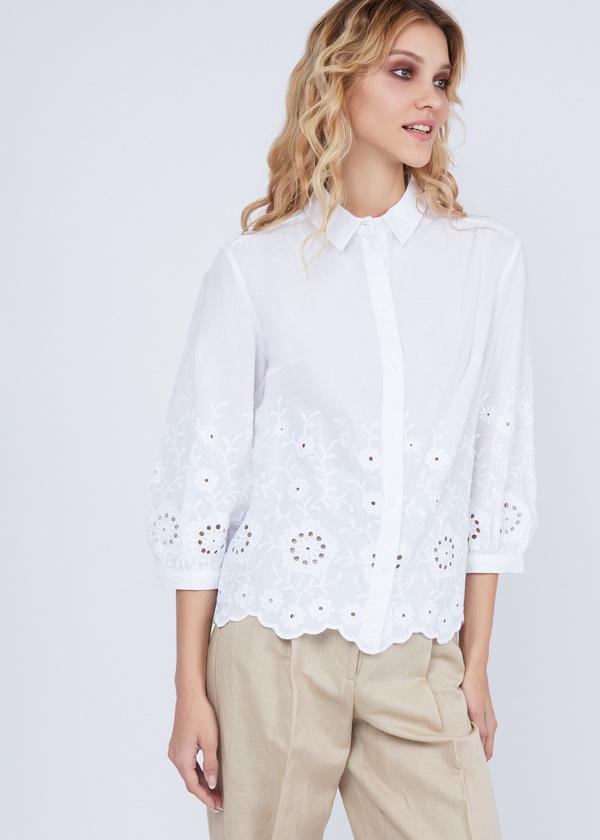 Рубашка из хлопка с кружевом - фото 2