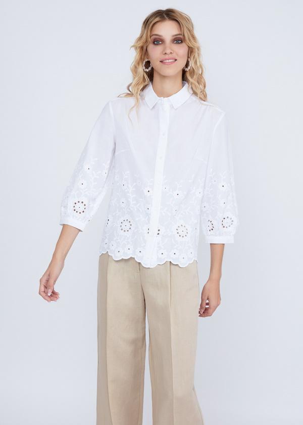 Рубашка из хлопка с кружевом - фото 4