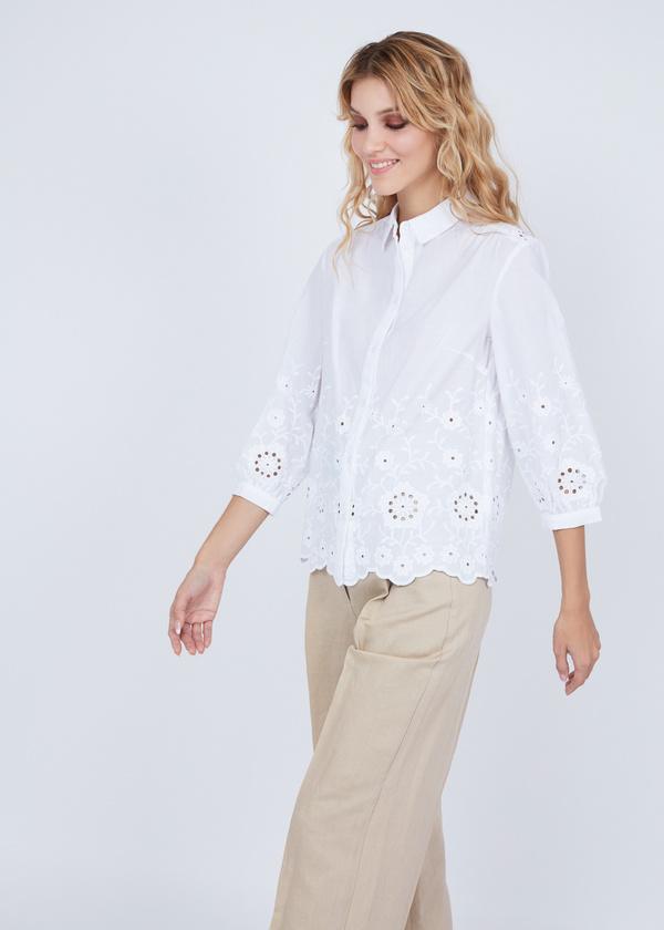 Рубашка из хлопка с кружевом - фото 5