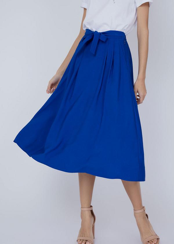 Миди-юбка с ремнем - фото 5