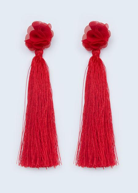 Серьги из текстиля с кисточками - фото 1