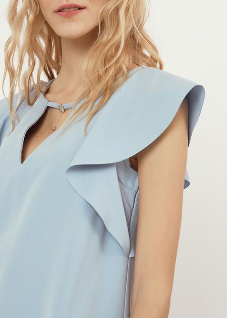 Платье-мини с рукавами-крылышками - фото 2