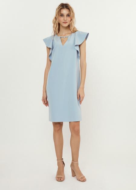 Платье-мини с рукавами-крылышками - фото 5