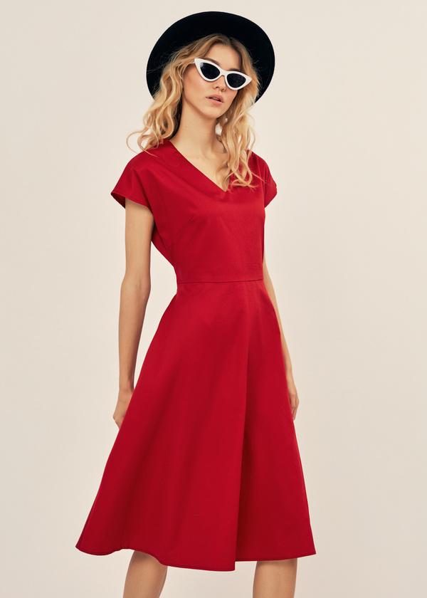 Платье-миди с поясом 100% хлопок - фото 1