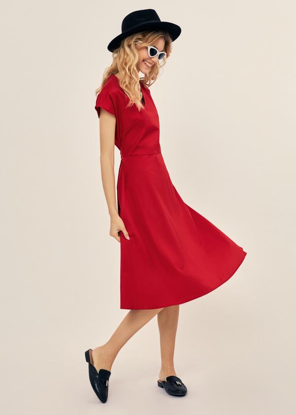 Платье-миди с поясом 100% хлопок - фото 4