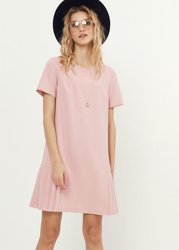 Платье-мини с плиссированной юбкой - фото 1