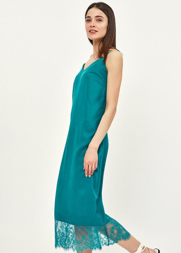 Платье-комбинация с кружевом - фото 4