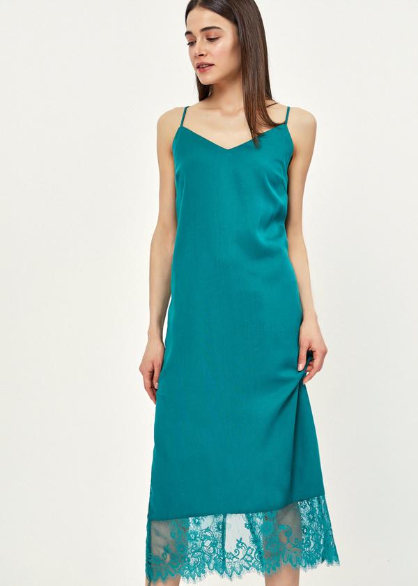 Платье-комбинация с кружевом - фото 5