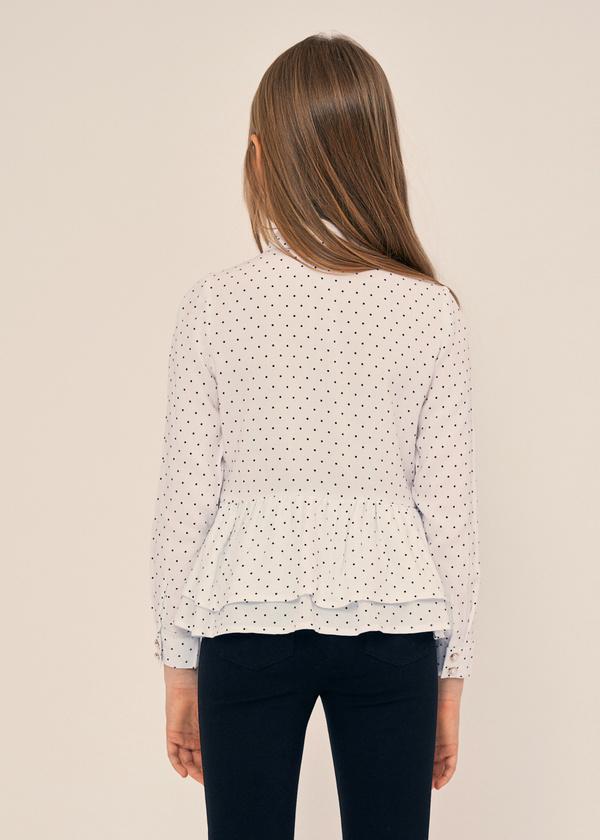 Блузка в горох с баской - фото 2
