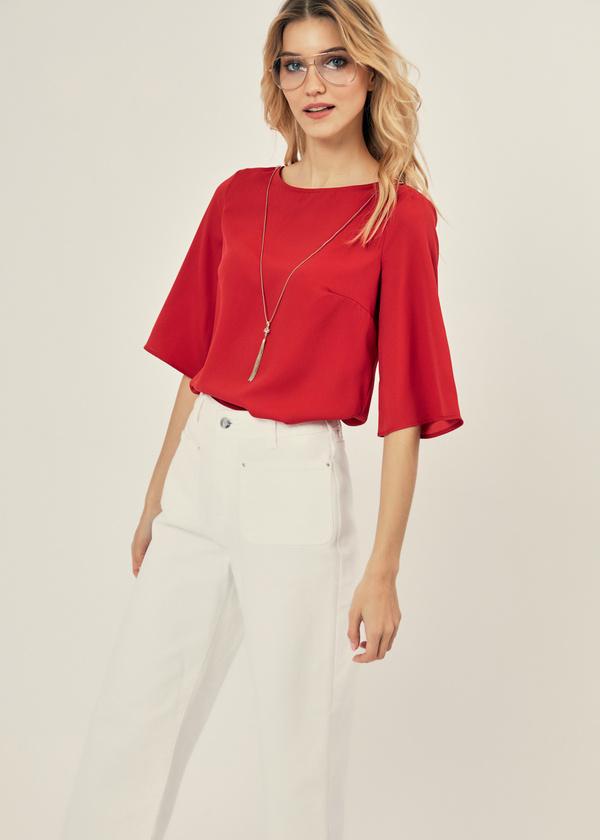Блузка с рукавами клеш - фото 1