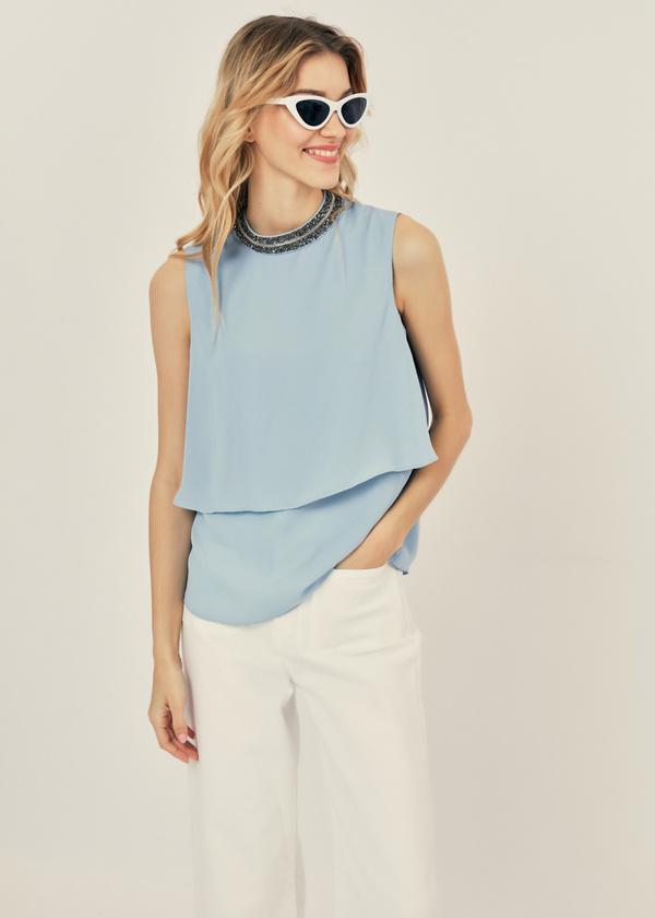 Многоярусная блузка с бисером - фото 2
