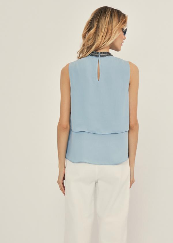 Многоярусная блузка с бисером - фото 3