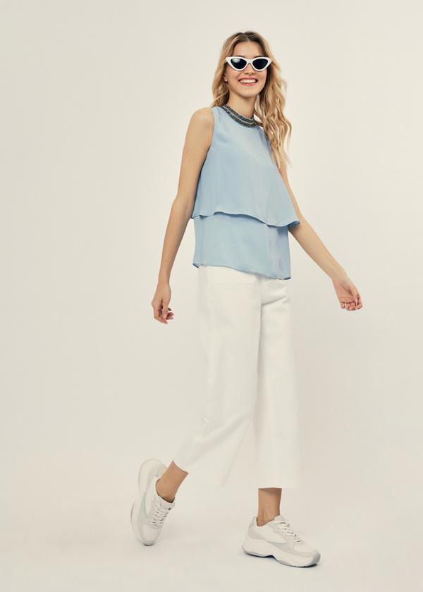 Многоярусная блузка с бисером - фото 4