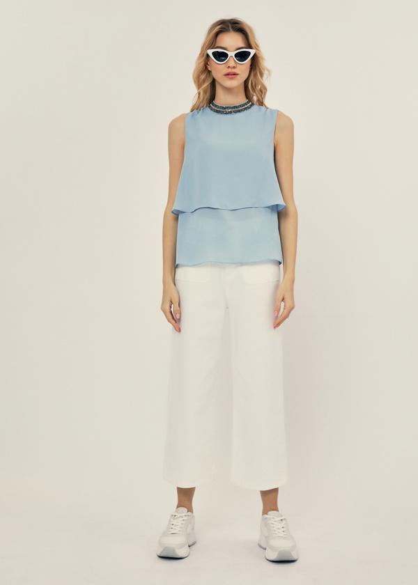 Многоярусная блузка с бисером - фото 5