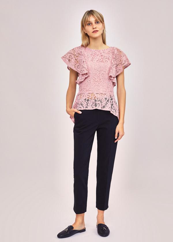 Ажурная блузка с баской - фото 4