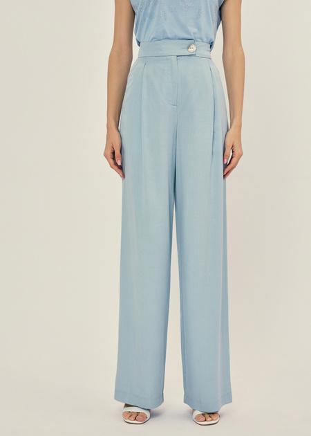 Широкие брюки с поясом на пуговице - фото 2