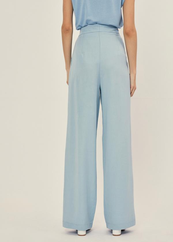 Широкие брюки с поясом на пуговице - фото 3