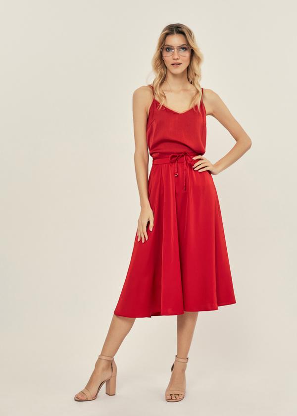 Атласная юбка с эластичным поясом - фото 1