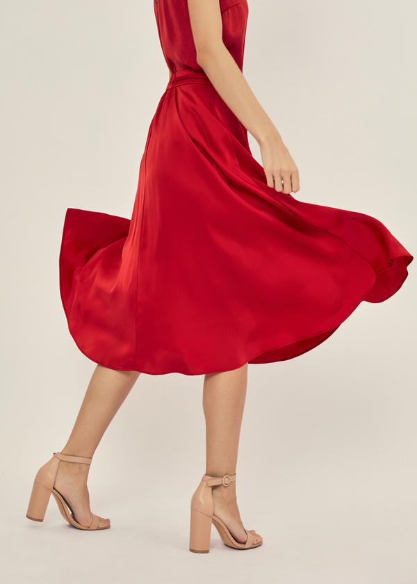 Атласная юбка с эластичным поясом - фото 2