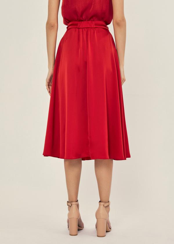Атласная юбка с эластичным поясом - фото 3