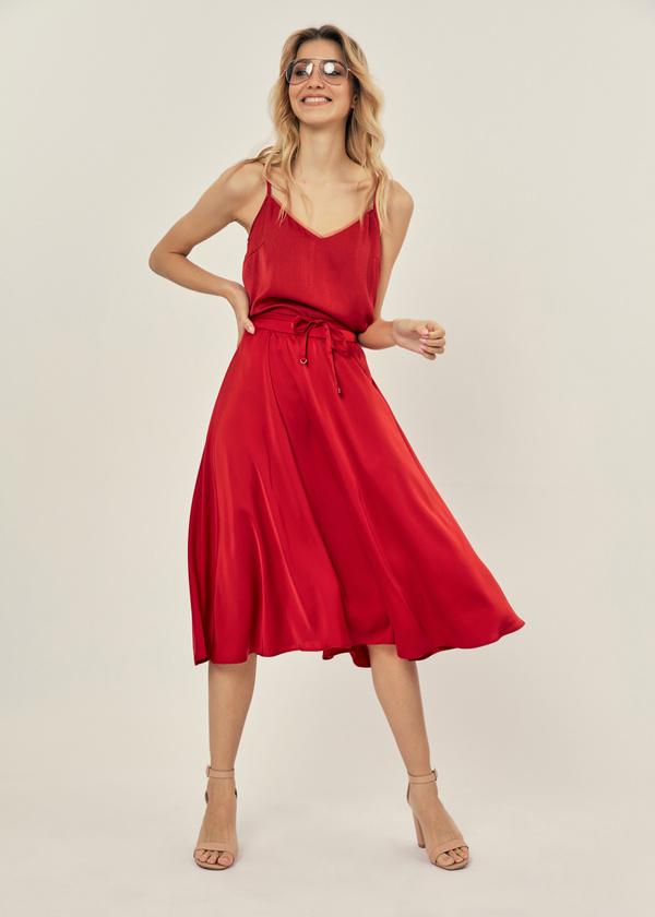 Атласная юбка с эластичным поясом - фото 4