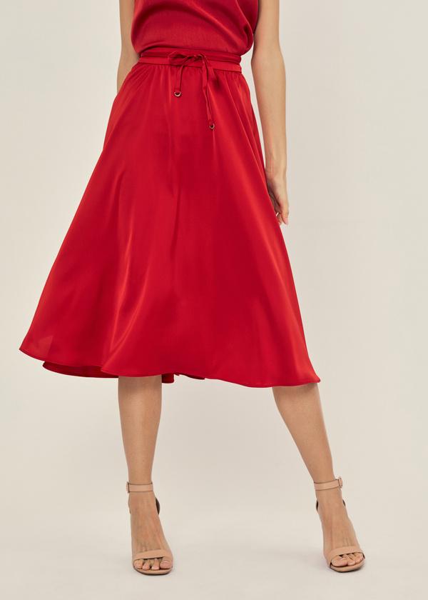 Атласная юбка с эластичным поясом - фото 5