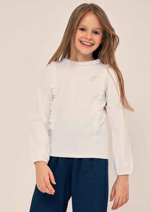 Блузка для девочек из хлопка с оборками - фото 1