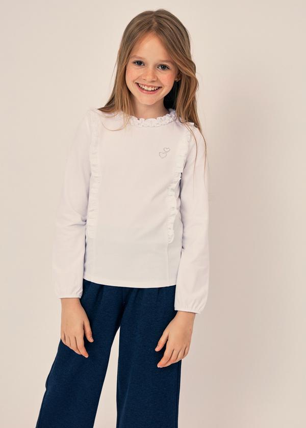 Блузка для девочек из хлопка с оборками - фото 3