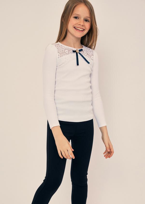 Блузка для девочек с ажурной вставкой - фото 4