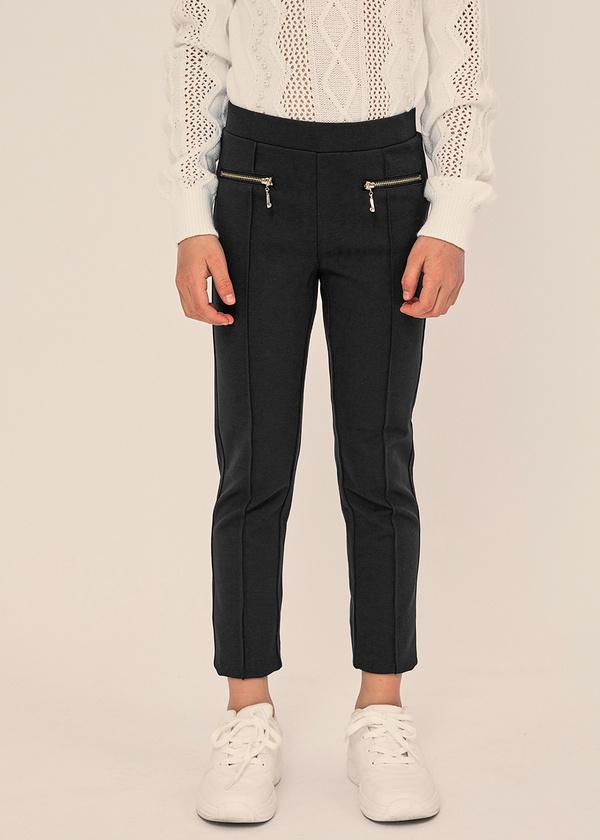 Зауженные брюки с молниями и эластичным поясом - фото 2