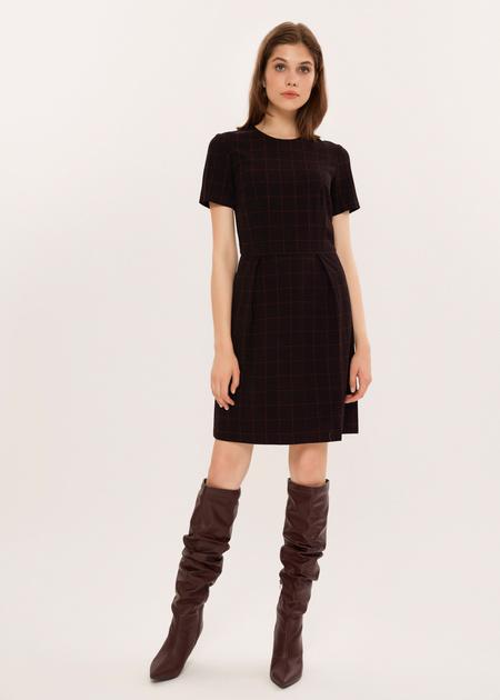 Приталенное платье в клетку - фото 2