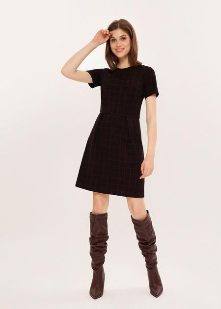 Приталенное платье в клетку - фото 5