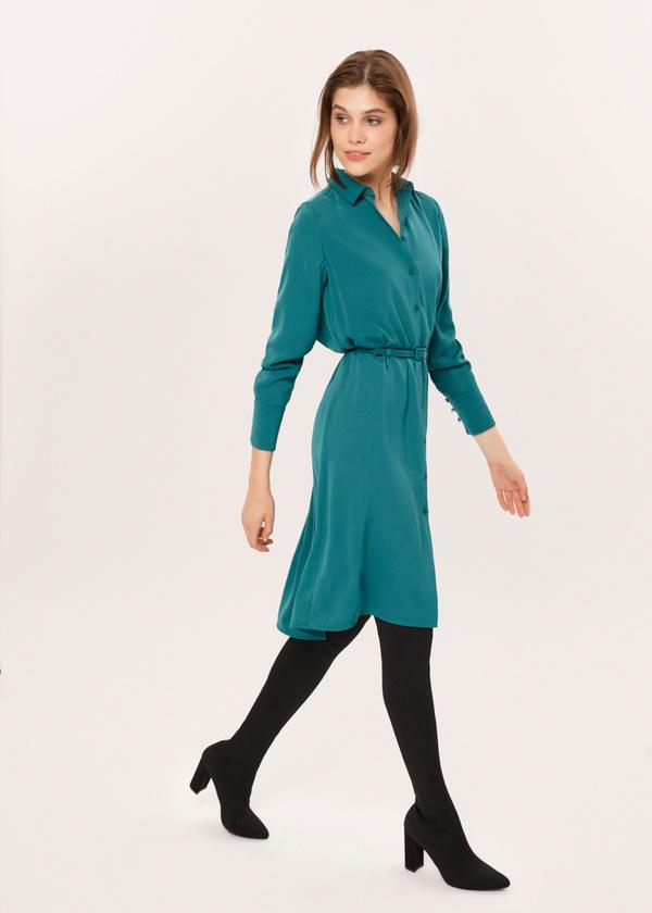 Платье-рубашка с ремешком - фото 2