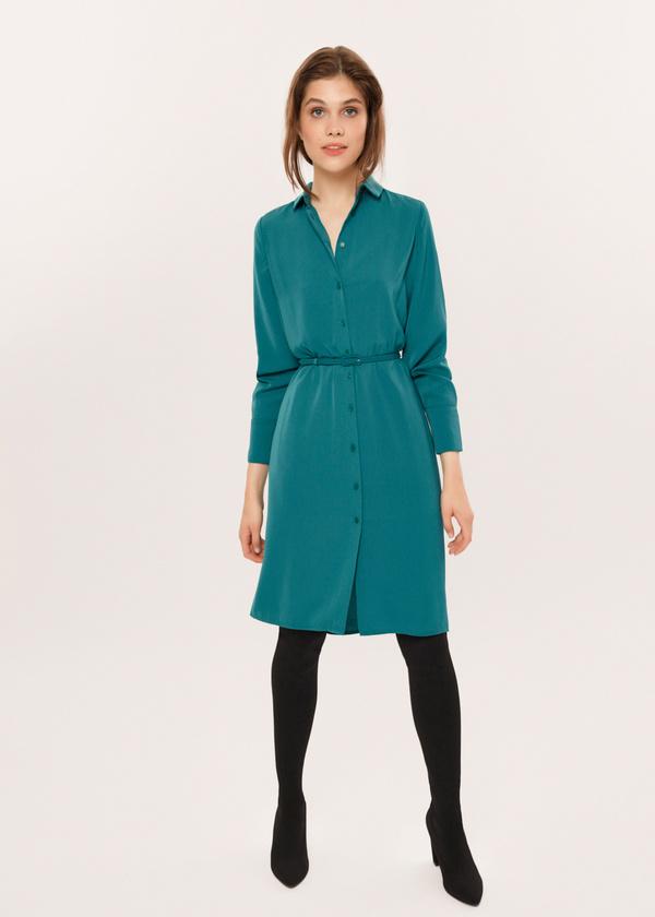 Платье-рубашка с ремешком - фото 5