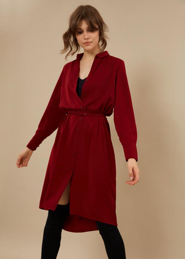 Платье-рубашка с ремешком - фото 3