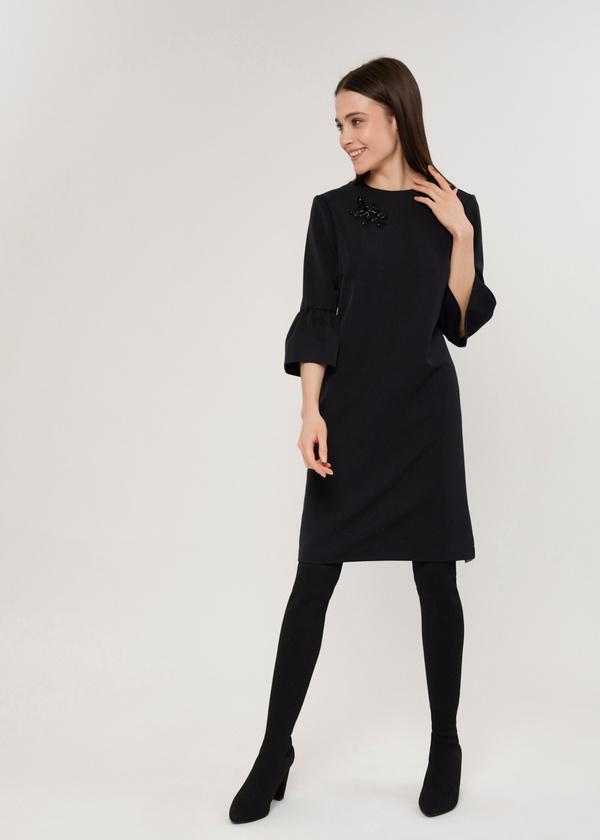 Платье с нашивкой и рукавами-фонариками  - фото 3