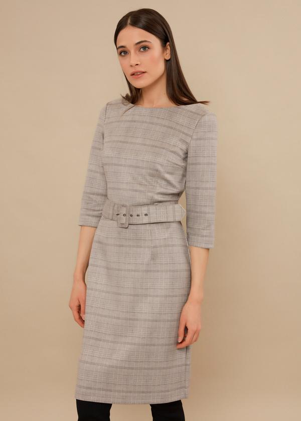 Приталенное платье с текстильным ремнем - фото 1