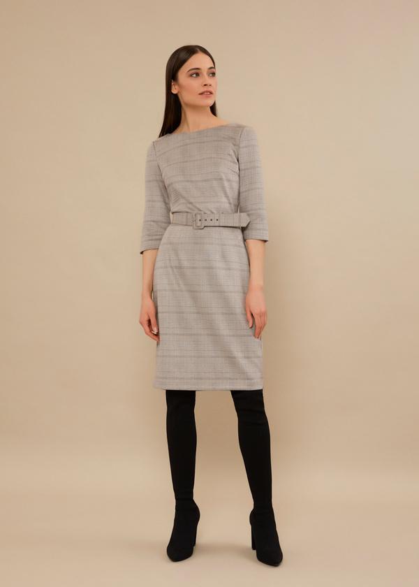 Приталенное платье с текстильным ремнем - фото 4