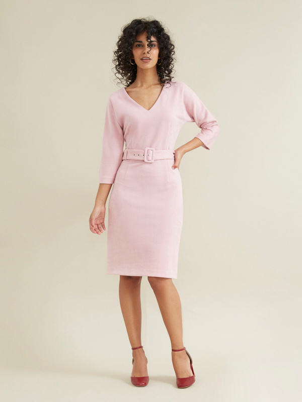 Замшевое платье с поясом - фото 1