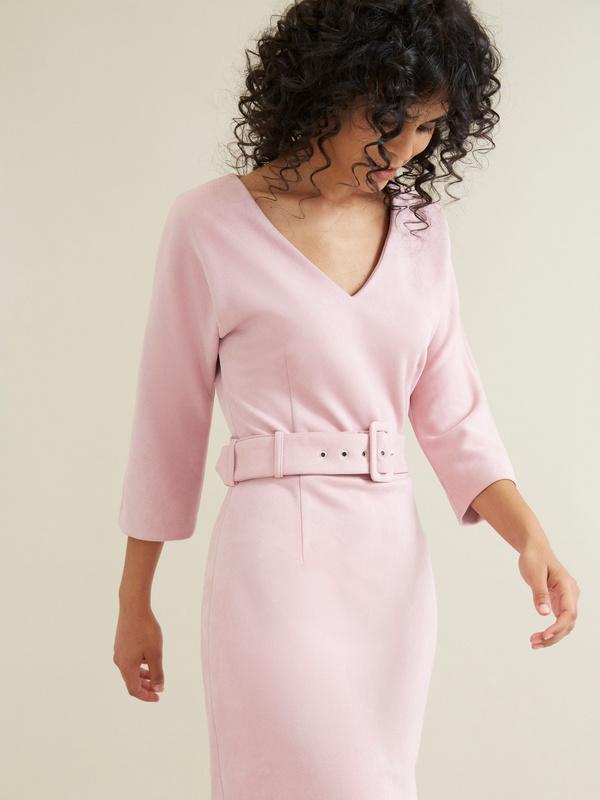 Замшевое платье с поясом - фото 2