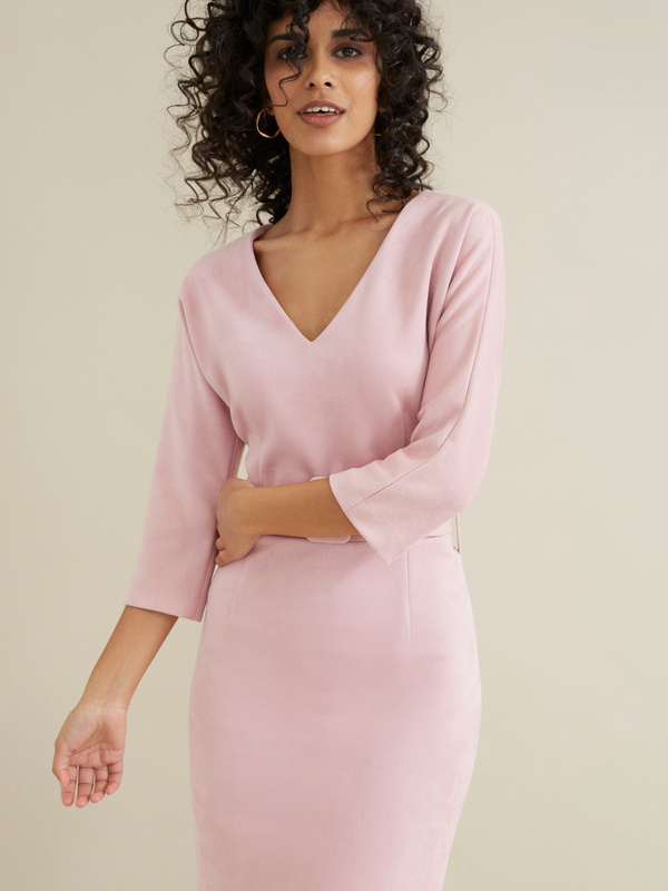 Замшевое платье с поясом - фото 3
