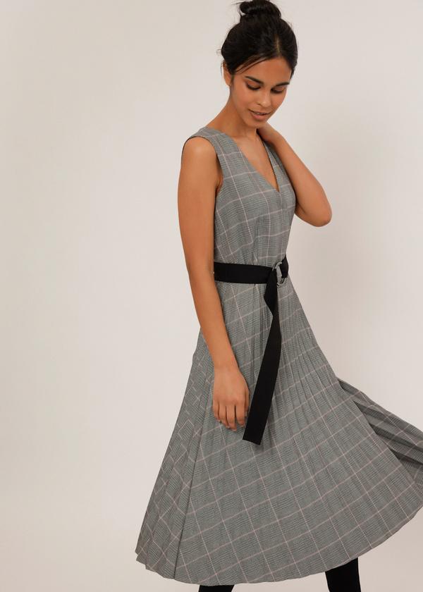 Платье-миди с плиссированной юбкой - фото 3