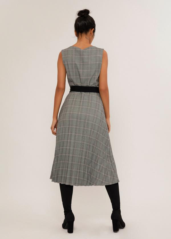 Платье-миди с плиссированной юбкой - фото 5