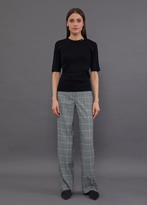 Широкие брюки принт клетка - фото 1