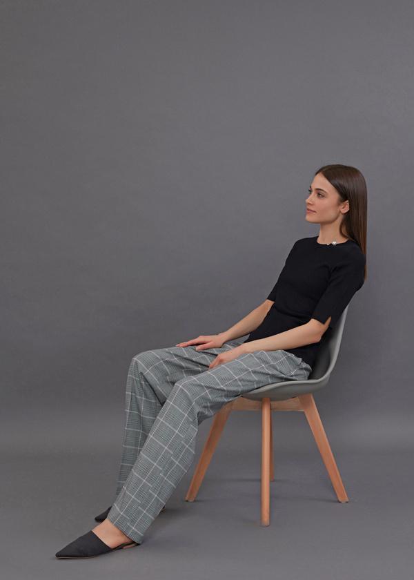 Широкие брюки принт клетка - фото 2