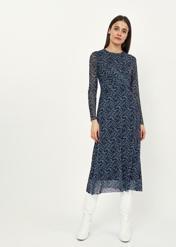 Платье-миди сетчатое на подкладе - фото 1