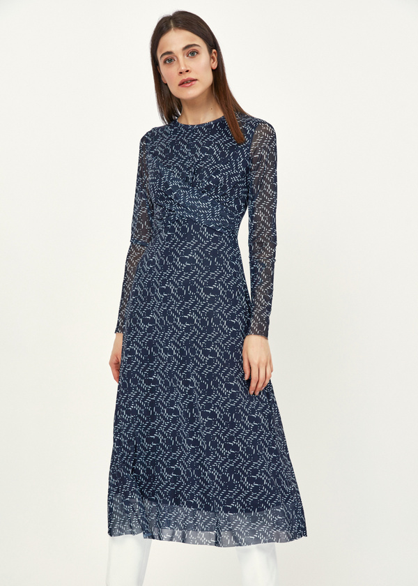 Платье-миди сетчатое на подкладе - фото 2
